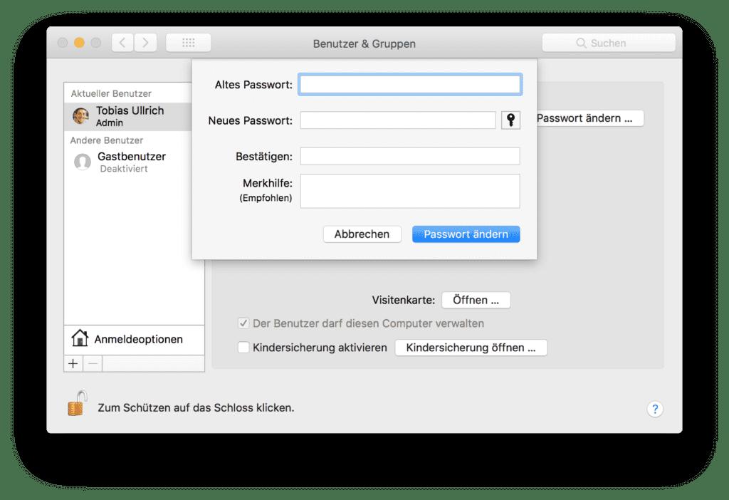 Mac Passwort einrichten