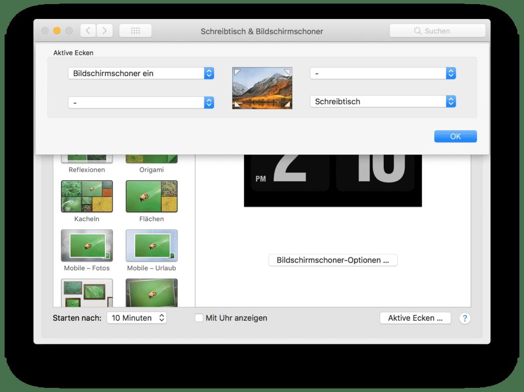 Bildschirmschoner per Aktive Ecken starten