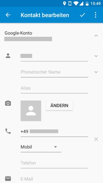 Kontakt bearbeiten erweitert in Android 6