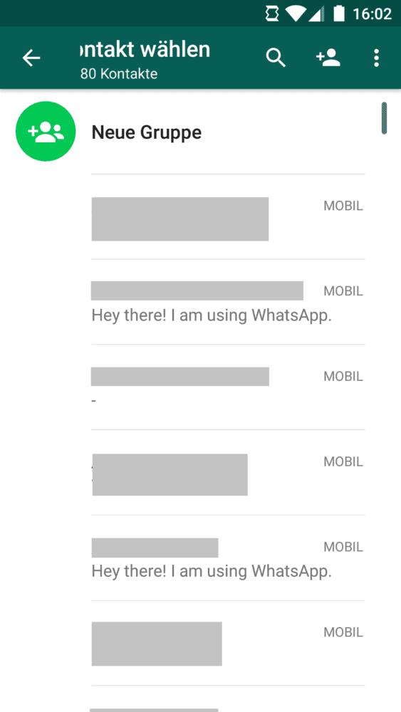 WhatsApp Kontakt auswählen
