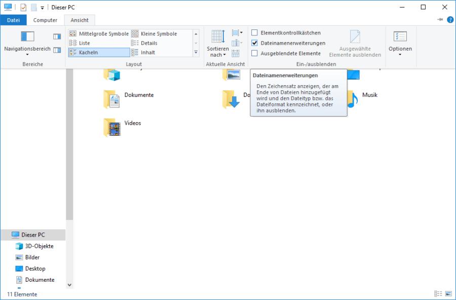 Windows 10 Dateiendungen anzeigen