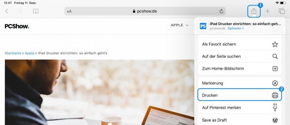 iPad Drucker einrichten über Freigabe im Browser